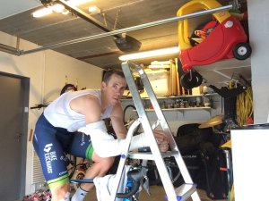 """Hayman recovering in his garage. He says """"I was embarrassed by this photo. There's a fine line between stupidity and dedication."""""""