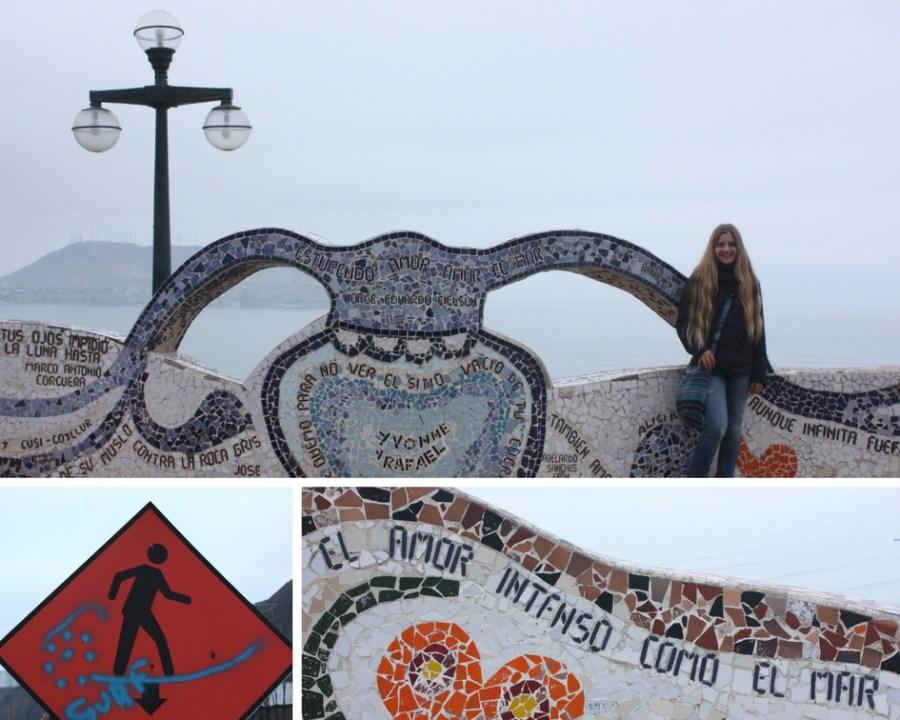 """""""Liebe, so intensiv wie das Meer"""": Im Parque del Amor bilden Zitate aus Mosaiksteinen eine kunstvolle Mauer vor dem Pazifik."""