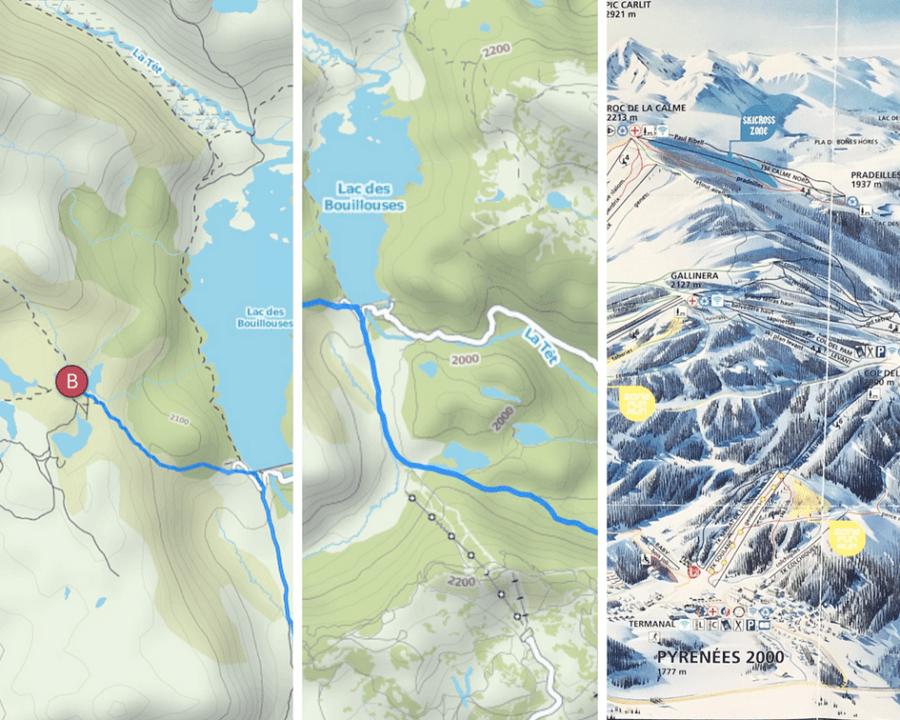 Bild 1+2 sind Screenshots der Komoot App: Die Seenschlaufe der Lacs du Carlit (B, links) und der Abstieg ab Roc de la Calme über die untere Seenschlaufe mit dem Lac des Pradeilles (rechts).