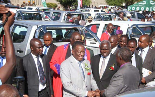 PICTURE: Mnangagwa buys 84 brand new double cab Isuzu cars for chiefs