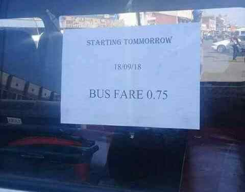 Zim Commuter Bus Operators, Kombis, hit travellers with 25 percent fare increase..Picture