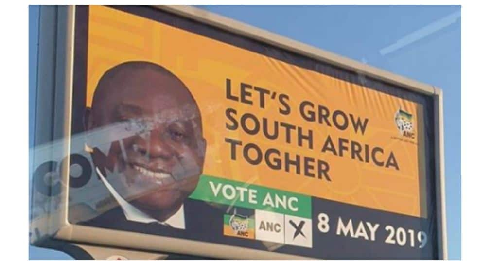 ANC bill board spelling error causes a stir..PICTURES