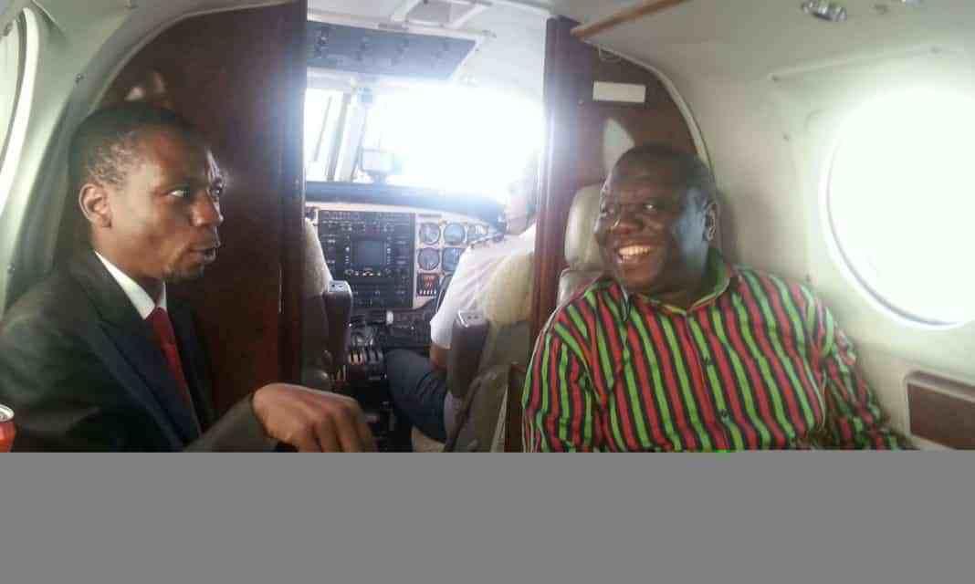 Rare photo: Morgan Tsvangirai and Luke Tamborinyoka on private jet..picture