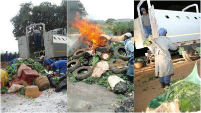 Armed ZRP police set fire to vegetables musika in Sakubva Mutare
