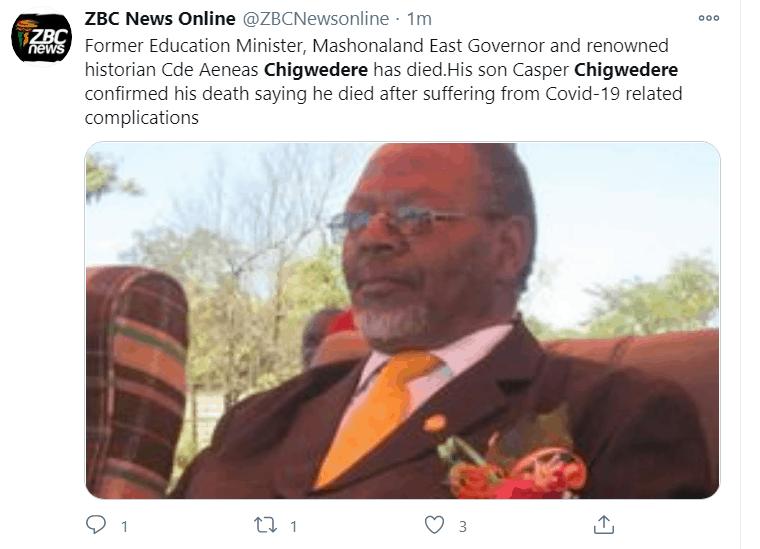 CHIGWEDERE DEATH