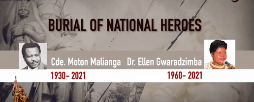 Watch Live Video, Pictures: Ellen Gwaradzimba, Morton Malianga Joint Burial Today-National Heroes Acre-ZBC