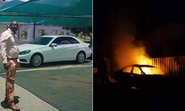 JUST KILL ME: Zanu PF critic Killer Zivhu's white Mercedes set on fire, pictures