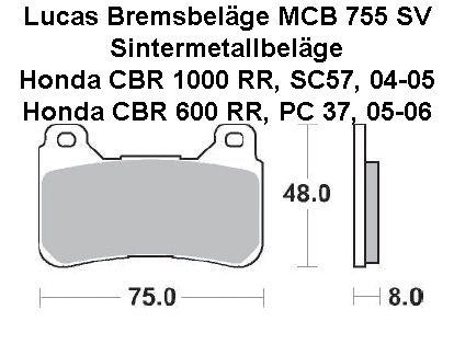 2 x Lucas MCB755SV Bremsbeläge Honda CBR 1000 RR, SC57