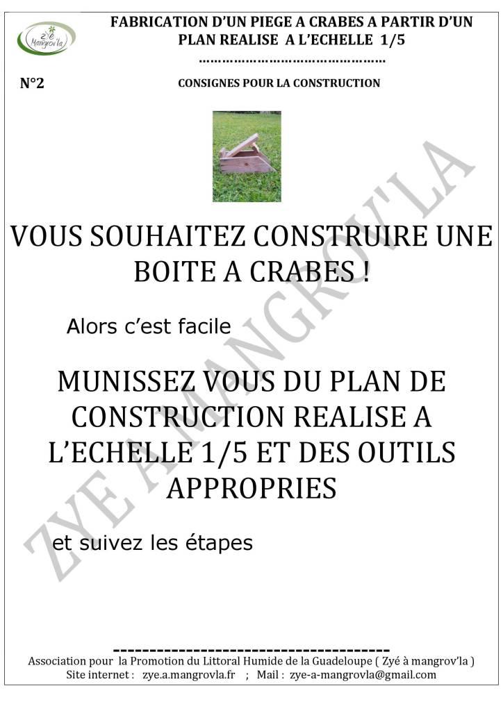 N°2 Consignes de construction d'une boite à crabes