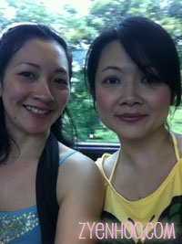 My sister and I on the train to KLCC