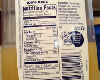 Label on a juice bottle