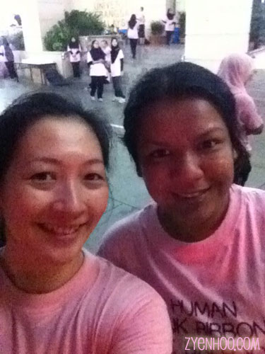 Customary we-fie in the morning! Me with run buddy Farah