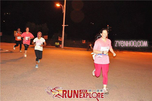 Caught in the act of screaming to the finish line! Photo thanks to Run & Explore