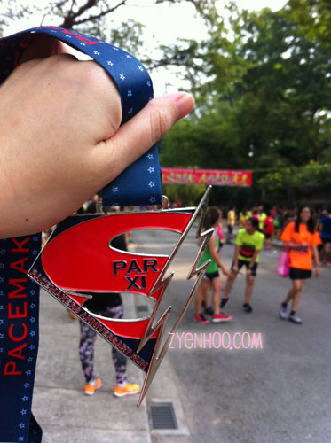 Close up of the medal from this run