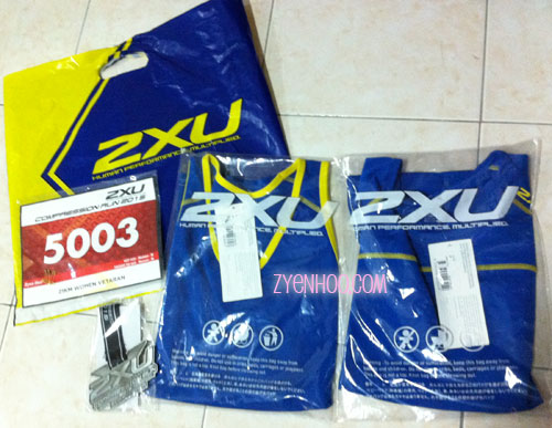 The race pack which has the bib, the running tee, the finisher medal and finisher tee for half-marathoners!