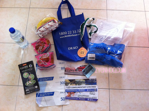 The goodie bag which we received after the run. The T-shirt was part of the original race pack