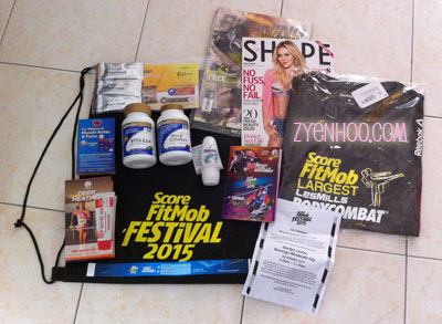 Our power-packed goodie bag! The blue strip is the wristband entry ticket