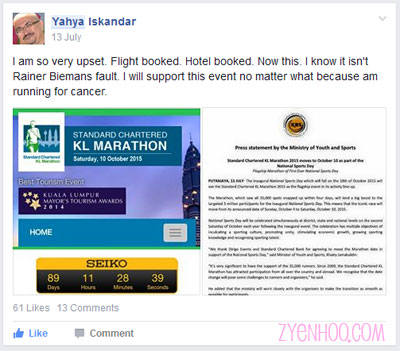 Yahya's post which he shared in Runners Malaysia Facebook group