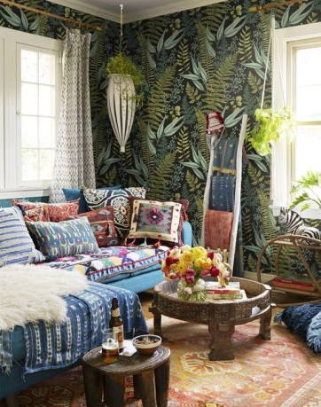 Cozy Bohemian Living Room Design Ideas 37