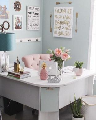Elegant Blue Office Decor Ideas 38