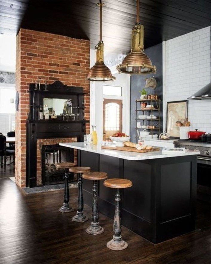 Elegant Exposed Brick Apartment Décor Ideas 21