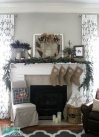 Creative Rustic Christmas Fireplace Mantel Décor Ideas 28