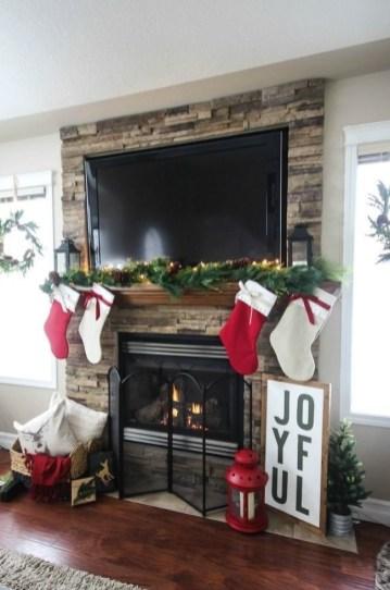 Fabulous Rock Stone Fireplaces Ideas For Christmas Décor 23