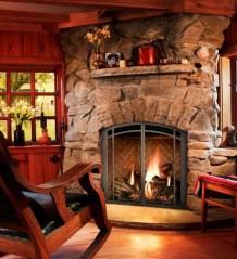 Fabulous Rock Stone Fireplaces Ideas For Christmas Décor 24