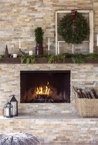 Fabulous Rock Stone Fireplaces Ideas For Christmas Décor 36