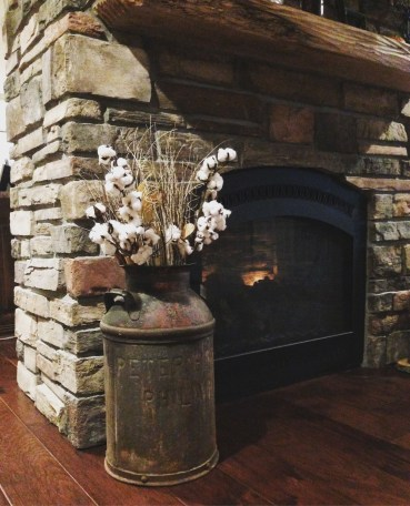 Gorgoeus Rustic Stone Fireplace With Christmas Décor 02