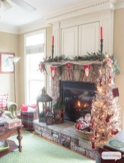 Gorgoeus Rustic Stone Fireplace With Christmas Décor 06