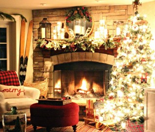 Gorgoeus Rustic Stone Fireplace With Christmas Décor 13