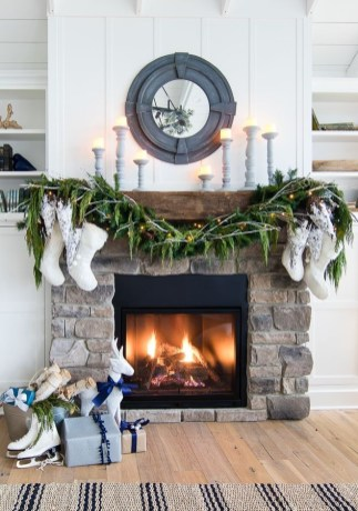 Gorgoeus Rustic Stone Fireplace With Christmas Décor 34
