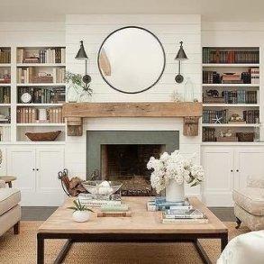 Unique Farmhouse Fireplace Design Ideas For Living Room29