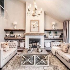 Unique Farmhouse Fireplace Design Ideas For Living Room30