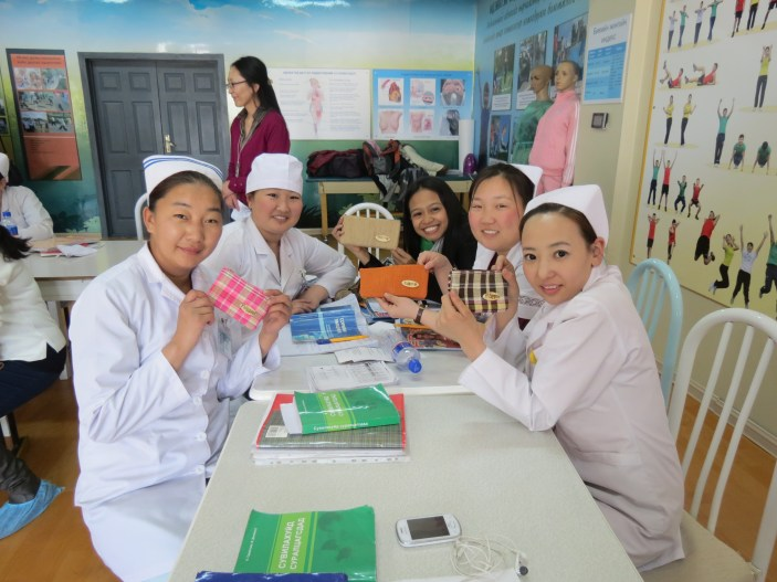 With the nursing students.