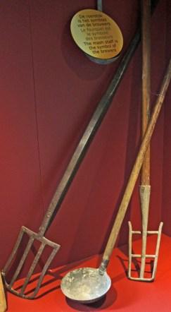 Mash tun rakes and a ladle