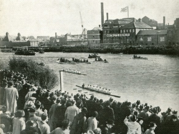 Mortlake brewery on Boatrace Day around 1938