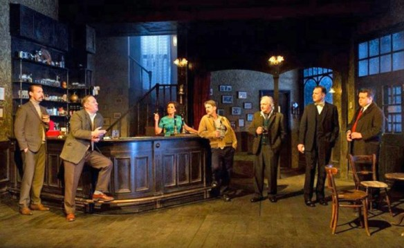 Watch out for the trap-door: David Morrissey, far right, and other cast members of Hangmen on stage at the Wyndham's Theatre
