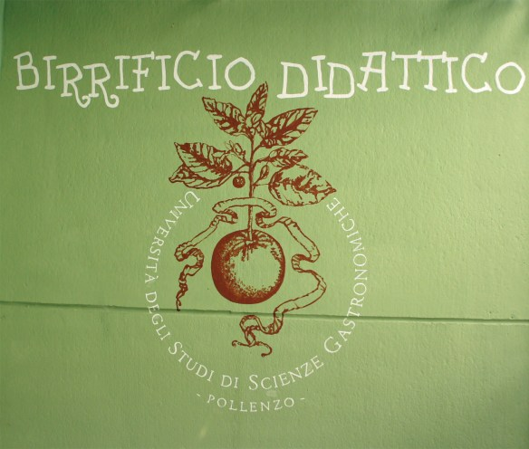 Sign on the wall of the room used by the University of Gastronomic Science at trhe Baladin brewery