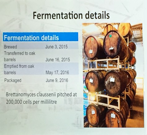 Stolen without remorse from Ron's presentation, fermentation details – and a pic of the casks filled with maturing beer
