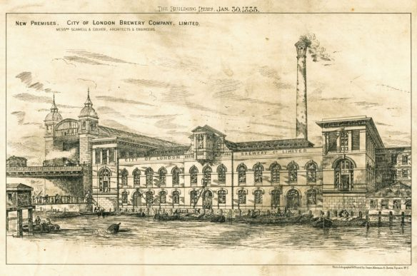 The Hour Glass brewery in 1885 after its rebuilding