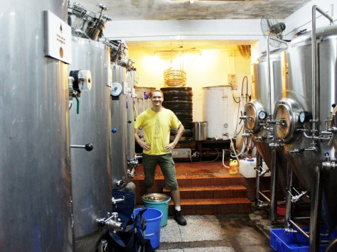 Dmitrii Gribov inside the BionicBrew brewery