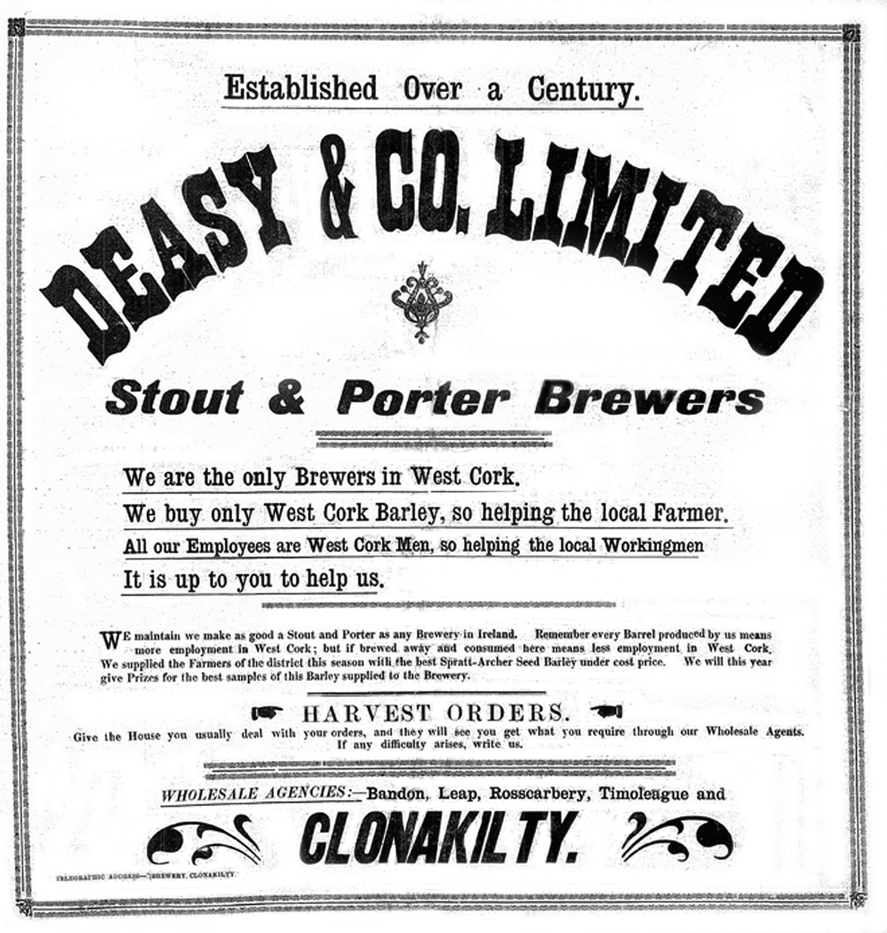 Beer zythophile deasys stout and porter advertised in the southern star skibbereen in 1925 with an emphasis on the firms localism freerunsca Image collections